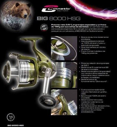 carrete de casting Big 8000 HSG de Cinnetic