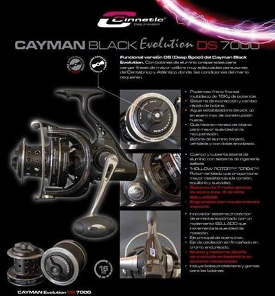 carrete de casting Cayman Black Evolution DS 7000  de Cinnetic