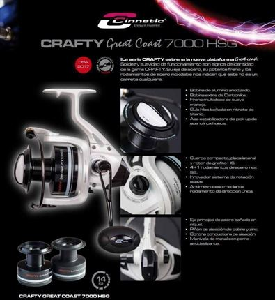 carrete de casting Crafty Great Coast 7000 HSG de Cinnetic