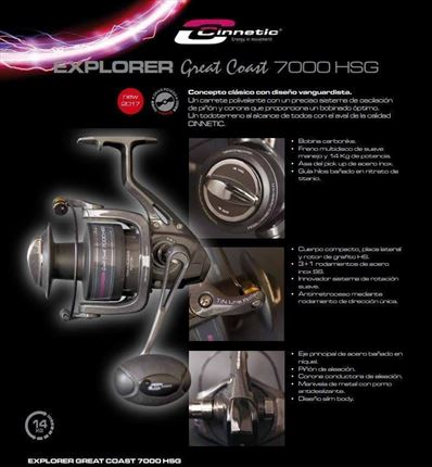 carrete de casting Explorer Great Coast 7000 HSG de Cinnetic