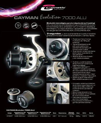 Carretes de spinning-sufcasting Cayman Evolution 7000 ALU CINNETIC