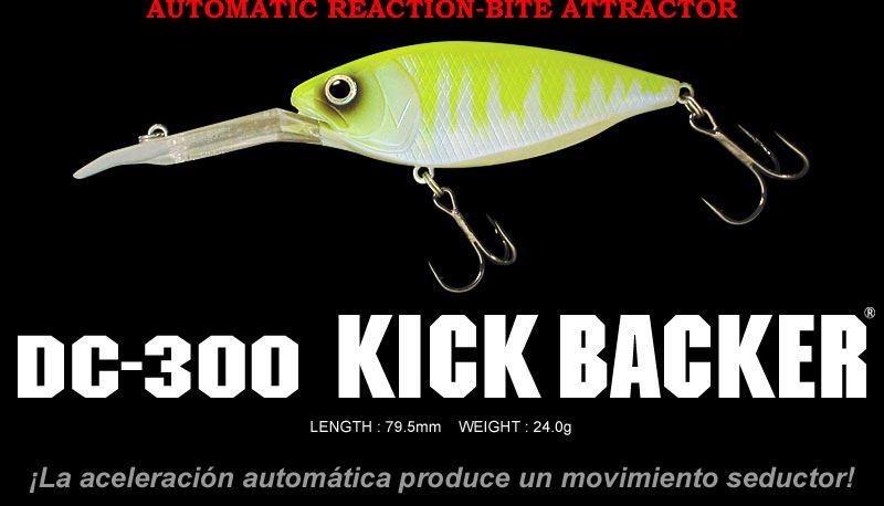 Crankbait de accion rapida y gran movimiento Kick Backer DC-300 de Deps especial Black bass y lucio